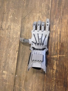 A prosthetic hand made by The 3D Printing Store.